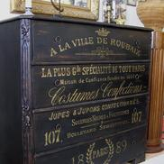 Black antique chest of drawers french gold text Paris 1889