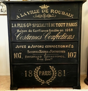 Black antique chest of drawers french gold text