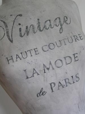 Handpainted dressform with french text